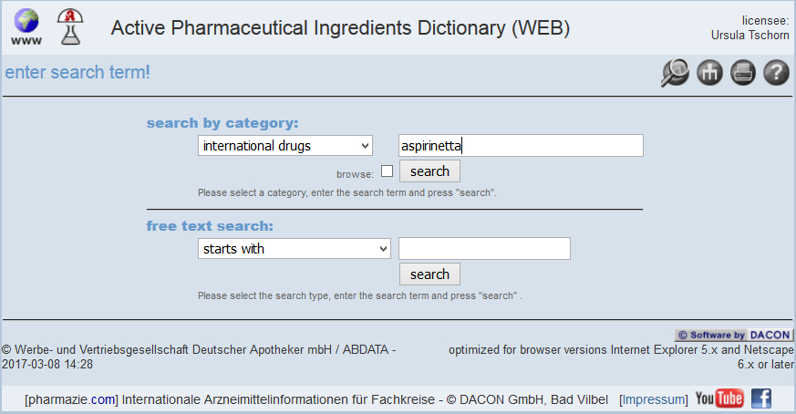 Active Pharmaceutical Ingredients Dictionary 1